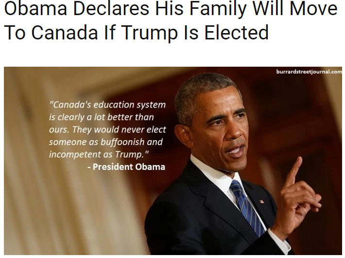 Obama to move Canada if Donald Trump wins