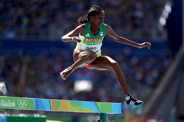 During her 3000 meter steeplechase race
