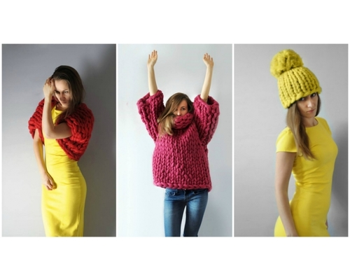 Fashionable wear knitted out of huge wool
