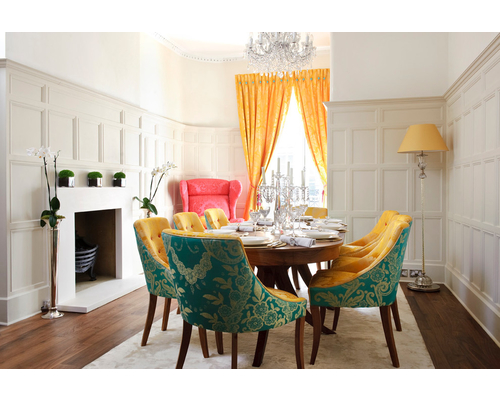 beautiful fabric over dining chairs