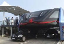 Elevated Transit Bus China - Source BBC