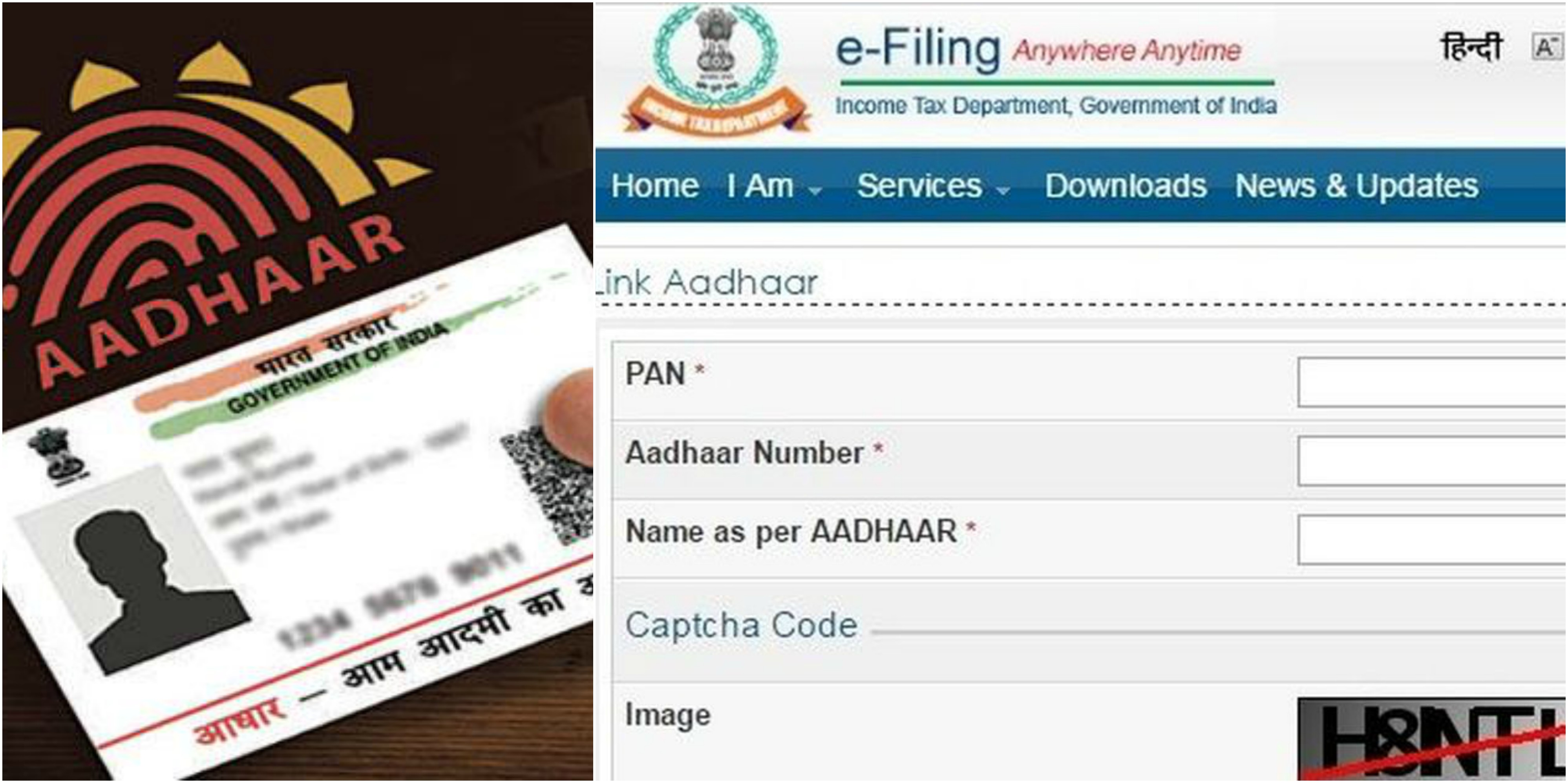how to connect pan with aadhar card
